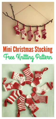 Knitted Christmas Stocking Patterns, Knitted Christmas Decorations, Mini Christmas Stockings, Mini Stockings, Christmas Crafts, Knit Christmas Ornaments, Christmas Christmas, Christmas Patterns, Christmas Tables