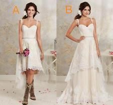 2016 Two Styles Lace Country Wedding Dresses Garden Hi Lo Bohemian Bridal Gowns