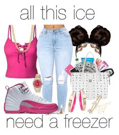 """""""all this ice i need a freezer❄️"""" by makaelahangelah ❤ liked on Polyvore featuring LE3NO, Rolex, MCM, Design Lab and EF Collection"""
