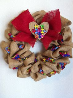 Look @Ashley Landry  - I LOVE THIS!!!! Burlap Autism Awareness Wreath Ryans by onceuponaflowerbyMW, $25.00