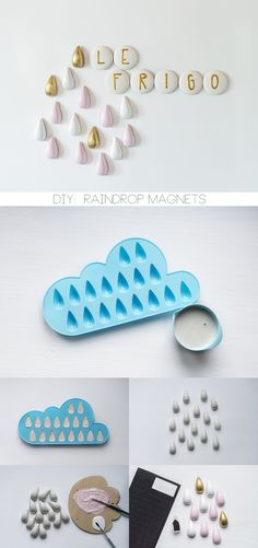 DIY raindrop magnets, for my pineapple moulds! Diy And Crafts, Arts And Crafts, Diy Magnets, Concrete Crafts, Idee Diy, Diy Clay, Diy For Kids, Diy Gifts, Biscuit