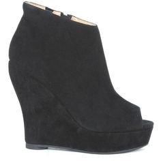 Jeffrey Campbell Boots ($89) ❤ liked on Polyvore featuring shoes, boots, nero, wedge ankle boots, short heel boots, wedge boots, jeffrey campbell boots and wedge heel ankle boots