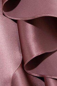 Juan Carlos Obando - Asymmetric Ruffled Silk-satin Mini Dress - Antique rose - US