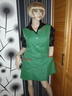 Nylon Kittel Schürze Vintage Glanz Kleid Blouse Frisör Shiny Silk Apron Overall in Kleidung & Accessoires, Vintage-Mode, Vintage-Mode für Damen | eBay!