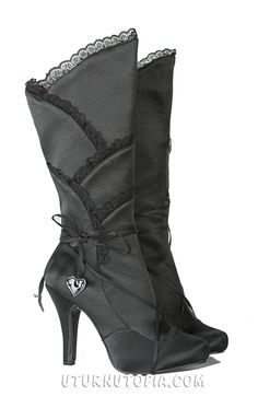 Black Satin Knee HIgh Boots /Gothic/Victorian/Steampunk [400-GOTHIKA-BLK] - $94.99 : Uturn Utopia, Retro footwear, Rockabilly Shoes, Vintage Inspired Clothing, jewelry, Steampunk
