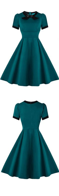 dark green party cocktail dress, elegant fashion party dresses, vintage style gowns<<I'd wear this 1950s Fashion Dresses, Vintage 1950s Dresses, Vestidos Vintage, Retro Dress, Retro Fashion, Vintage Fashion, Dress Fashion, Style Fashion, Ladies Fashion