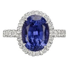 4.51 Carat Violet Sapphire Diamond Ring | From a unique collection of vintage engagement rings at https://www.1stdibs.com/jewelry/rings/engagement-rings/