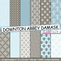 """Damask digital paper: """"DOWNTON ABBEY DAMASK"""" with blue and brown damask backgrounds and classical damask patterns for scrapbooking by clairetale. Explore more products on http://clairetale.etsy.com"""