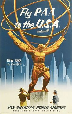 Pan Am - Fly PAA to the USA - New York by Clipper - 1955 -