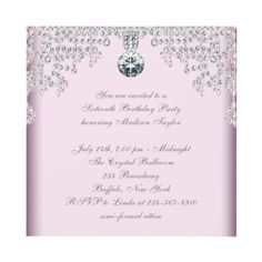 Silver Diamonds Pink Sweet 16 Birthday Party Custom Invitations by Pure_Elegance