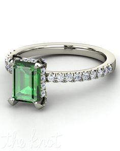 Gemvara Reese Engagement Ring: Love the emerald-cut emerald in platinum!