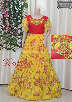 Long Gown Dress, Long Dresses, Chiffon Dress, Party Dresses, Half Saree Designs, Dress Designs, Blouse Designs, Frocks And Gowns, Frocks For Girls