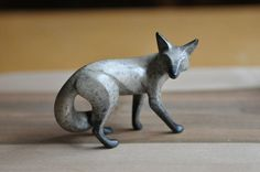Realistic Bronze Cast Grey Fox by gallerybyharvestgold on Etsy, $695.00