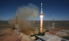 A Russian Soyuz launch vehicle carrying Progress M-27M cargo ship lifting off from the Baikonur cosmodrome in Kazakhstan on 28 April 2015.