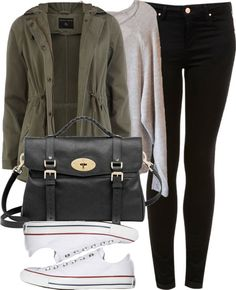 'Zoella Style' -  Black Skinny Jeans, Grey sweater, Green Anorak, Black purse, White converse.
