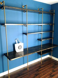 Pipe Shelving Unit (Industrial bookcase w/ desk, Industrial bookshelves,industrial shelving unit) w/ optional reclaimed wood