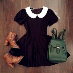 black dress with a white peter pan collar, green backpack, and brown heeled ankle boots. This would be a cute fall outfit if paired with black tights. 50s Outfits, Mode Outfits, Pretty Outfits, Vintage Outfits, Vintage Fashion, Fashion Outfits, Vintage Shoes, Dress Vintage, Fashion Clothes