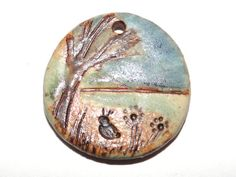 Ceramic Landscape Pendant Stoneware Handmade Scotland by Grubbi