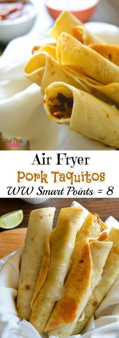 In honor of Cinco de Mayo, we have prepared a Weight Watchers Pork Taquitos Recipe in the air fryer but we like to make them anytime. Delicious pork or chicken taquitos that are just 8 Weight Watchers Smart Points. Air Fryer Oven Recipes, Air Frier Recipes, Air Fryer Dinner Recipes, Ww Recipes, Mexican Food Recipes, Cooking Recipes, Dessert Recipes, Air Fryer Recipes Mexican, Vegetarian Mexican