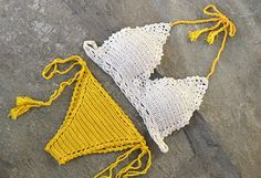 Crochet bikini set in yellow and of white Lace crochet top