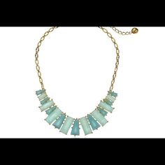 """Kate Spade """"Beach Gem"""" Necklace Model: WBRU 9869 Beautiful Statement gold plated over brass necklace  with the row of geometric faceted pendants in alternating hues Cable chain with lobster-claw clasp Size: chain -16"""" ( +3"""" extension) width about 5""""  Without box or dust bag kate spade Jewelry Necklaces"""