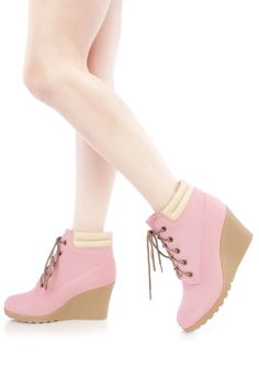 Pink Lace Up Wedge Ankle Booties Nubuck Faux Leather