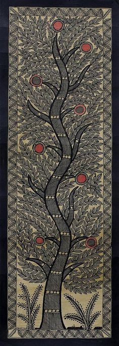 Intricate Tree-Themed Madhubani Painting from India