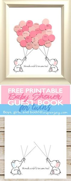 FREE Twin Elephant Baby Shower Guest Book Printable. Super sweet idea to use at a baby shower and then hang up in the nursery! Mama-to-be would LOVE it! Pinning for the next baby shower I throw!!