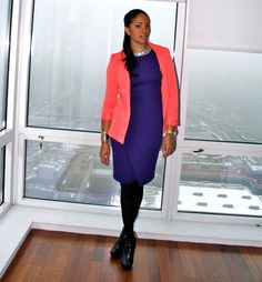 purple violet dress with coral blazer