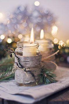 birch-bark-wrapped mason jar candle holders—sooo pretty!