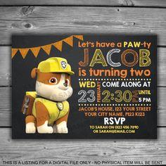 Paw Patrol Rubble Printable Invitation  Digital by LeosPrintables