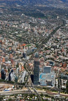 Birds eye view of Santiago, Chile. Santa Lucia, World Cities, Countries Of The World, Trinidad Y Tobago, American Falls, Casa Patio, South America Travel, Birds Eye View, Amazing Destinations