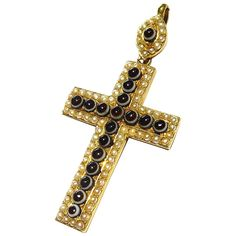 Exquisite Large Victorian Banded Agate Natural Pearl Gold Cross Charm Pendant | From a unique collection of vintage more jewelry at https://www.1stdibs.com/jewelry/more-jewelry-watches/more-jewelry/
