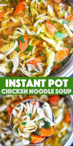 · Instant Pot Chicken Noodle Soup - Tender chunks of chicken in a rich homemade chicken broth with big hearty veggies. Homemade Instant Pot chicken noodle soup from scratch in less than an hour. Instant Pot Chicken Noodle Soup Recipe, Best Chicken Noodle Soup, Instant Pot Pressure Cooker, Pressure Cooker Recipes, Pressure Cooking, Slow Cooker, Easy Homemade Recipes, Healthy Recipes, Healthy Meals