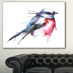 Designart 'Bird in Blue and Red' Watercolor Animal Canvas Art Print