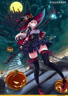 Halloween anime art illustration