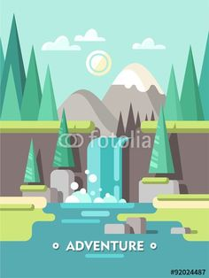 Vector: Summer landscape. Adventure. Concept for web banner and printed materials. Vector flat illustration.