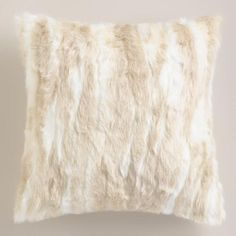 One of my favorite discoveries at WorldMarket.com: Ivory Faux Fur Throw Pillow