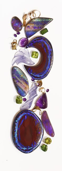 Boulder opal from Bill Kasso..... I love to play with these amazing stones! Designed by Jennifer Kalled
