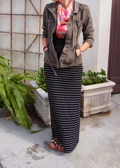 Skirt Week: Maxi. Exploring My Style blog. Black cotton tank, olive green…