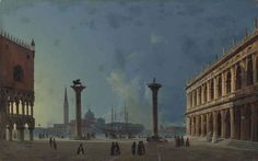 Ippolito Caffi - The Piazzetta by Moonlight,...