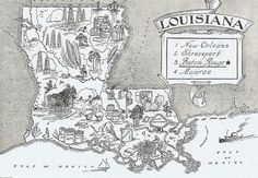 Items similar to LOUISIANA State Map Animated Cartoon Map Print Black and White Gallery Wall Art Decor Birthday Gift for Wedding Anniversary on Etsy Antique Maps, Vintage Maps, Louisiana State Map, Louisiana History, Pictorial Maps, Sketches Of People, Fun Illustration, Illustrations, Us Map