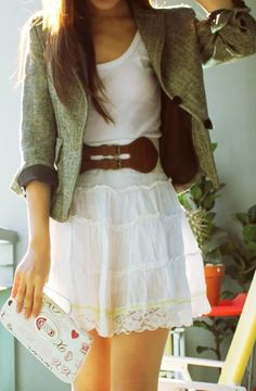 I love this dress with the belt but not the blazer.