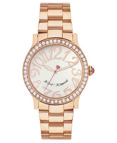 WANTTTTTTTTTTTTTTT   Betsey Johnson Watch, Women's Rose Gold Tone Bracelet 40mm BJ00190-09 - Women's Watches - Jewelry & Watches - Macy's