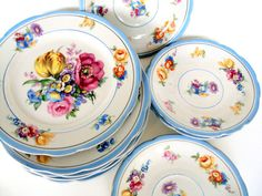 Antique Karlsbad Germania Porcelain,Lot of 10,Carl Knoll,1916,White Porcelain Paste Moriage,Saucers,Dessert Plates,Dining Serving,Wedding