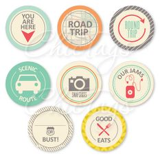 Road Trip Icons - set of  8