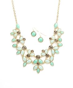 Look at this Ethel & Myrtle Aqua Floral Bib Necklace & Earring Set on #zulily today!
