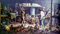 Slavenruim aan boord van een slavenschip. Klik op de afbeelding voor website