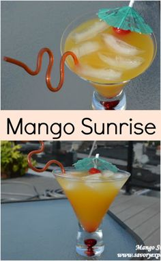 Mango Sunrise Recipe- a fruity adult beverage perfect for any party or happy hour | www.savoryexperiments.com
