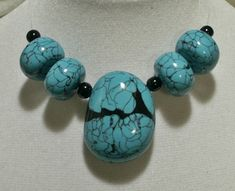https://flic.kr/p/chZ5ff | Faux turquoise - extra big and chunky polymer clay beads pendant | Will be listed in my Zibbet shop.